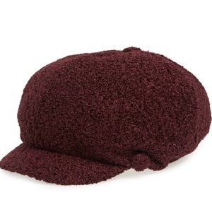NWT David & Young fleece baker boy hat maroon